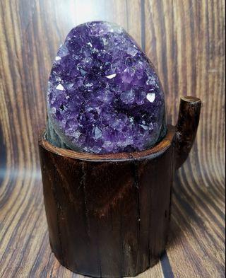 天然烏拉圭紫晶簇瑪瑙邊消磁招財原礦連根雕底座(帶晶花)
