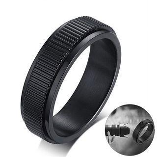 [Men Accessories]▪️IP Black Plating Camera Lens Design Spinner Stainless Steel Men Ring Men Fashion Jewelry▪️