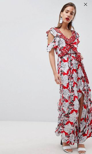 e847fdbc94f79 River island red floral print red ruffle detail maxi dress. As seen on ASOS