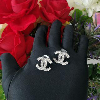Authentic Chanel Classic CC Silver Earrings 2cm