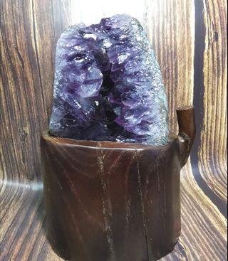 天然巴西大牙紫晶簇招財原礦
