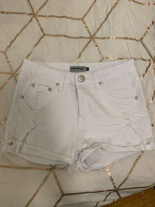 White fox boutique White ripped denim shorts