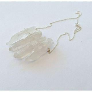 Raw natural mineral clear quartz point minimal crystal gemstone sterling silver necklace