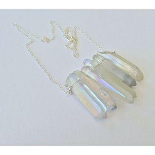 Raw natural mineral rainbow angel aura quartz point minimal metallic crystal gemstone sterling silver necklace