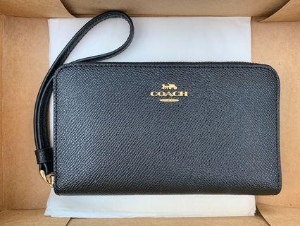 Coach black leather phone wallet wristlet