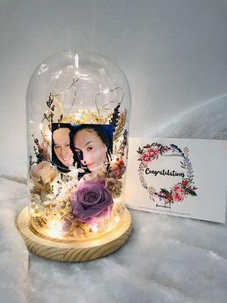Personalised Romantic Bell Jar | Preserved Flowers in Belljar | Roses Hydrangea | LED Fairy Lights Included || Mothers' Day | Valentine's Day | Anniversary | Birthday | Graduation | Congrats