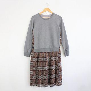 Korean Fashion Style Gray Sweater Printed Dress