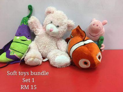 Soft toys bundle set 1