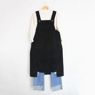Korean Fashion Style Black Corduroy Jumper Dress