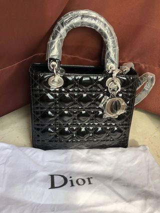 Lady Dior Bag Black Patent Leather