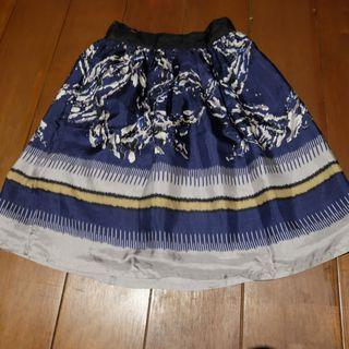 Mango - Patterned Navy Mid-Length Skirt