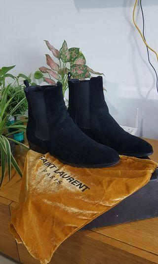 Saint Laurent Men Suede Leather Chelsea high boots black copy
