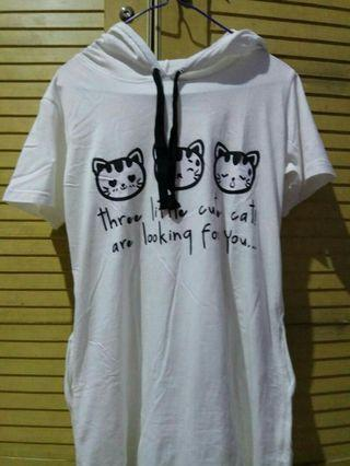 Dress Kaos Kucing ada topinya