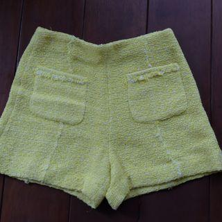 ZARA - Yellow Tweed Short