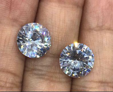12.5 cts American White Diamond CZ Round Pair 10.1 mm Lab Created Loose Gem