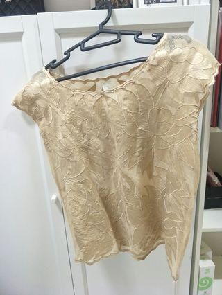 🚚 Zara embroidery champagne lace top