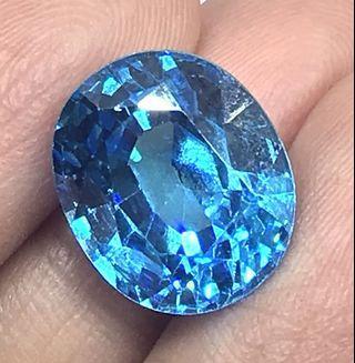 16.50 cts London blue Topaz Oval 11.8 x 14 mm Lab Created Loose Gem