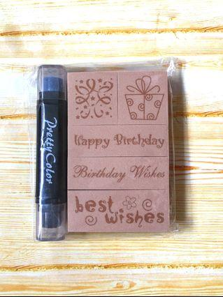 🚚 Birthday Wishes Rubber Stampers