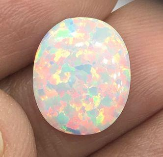 1.5 cts Opal White Oval Lab Created 10.6 x 12.7 mm Loose Gem
