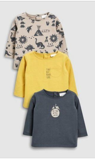 全新 恐龍T恤3件 0~3mth 買錯size 平賣 $80 3件