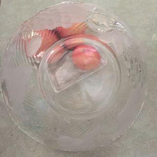 全新精緻磨砂厚玻璃生果盤碟Contemporary Glass Tray fruit platter plate
