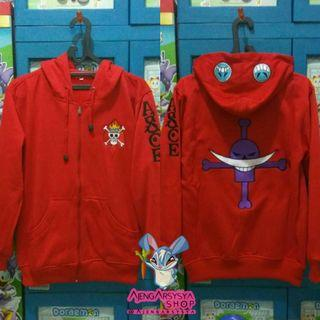 Jaket One Piece Ace Merah