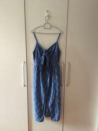Mango Blue Summer Print Midi Dress