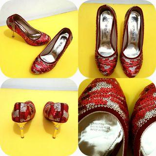 Sepatu Pesta Wanita / Blink Blink High Heels / Sepatu Merah / Sepatu Silver / sepatu payet / Sepatu murah
