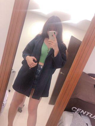 深藍長版外套 大衣