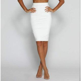 Meshki white cut out skirt