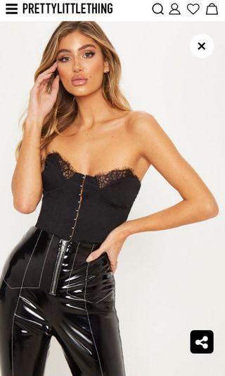 Black Lace Trim Hook And Eye Bodysuit
