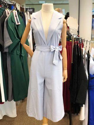 [NEW] Smart Casual Sleeveless Grey Jumpsuit