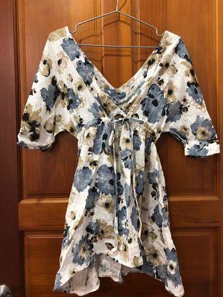 花朵腰綁帶洋裝