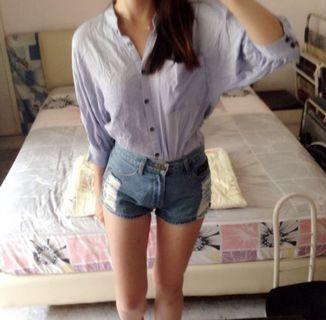 (3 for $12) Blue shirt (korean style)