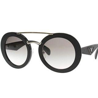 f0f0de8725976 Prada Black Ornate Round Sunglasses Lens Category 2 Size 53mm