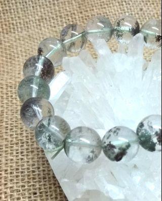 天然水晶 綠幽靈手串 12mm