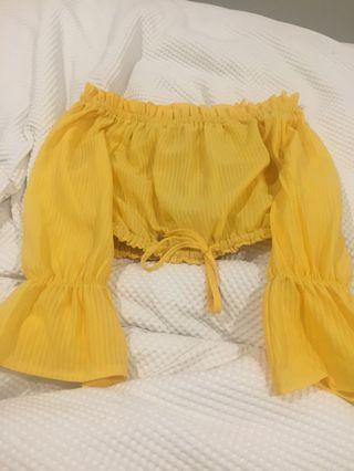 off shoulder yellow crop