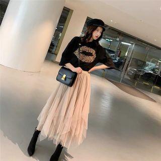 🚚 韓版氣質短袖T恤 百搭不規則網紗裙