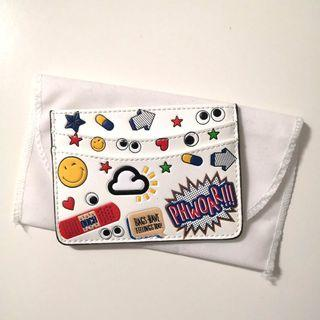 Sticker fun faux leather card holder