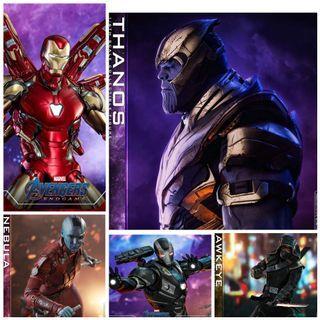 Hot Toys Avengers Endgame Movie Thanos Mark 85  War Machine Nebula and Deluxe Hawkeye