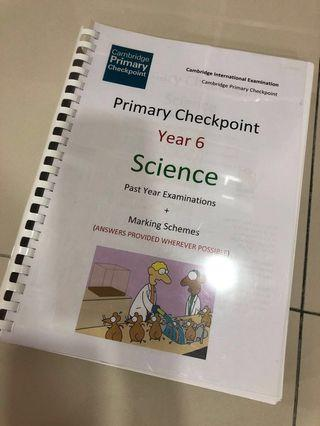 Year 6 Science checkpoints examination papers