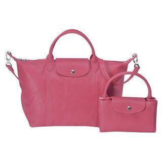 BNIB Longchamp Le Pliage Cuir Large (Malabar Pink)