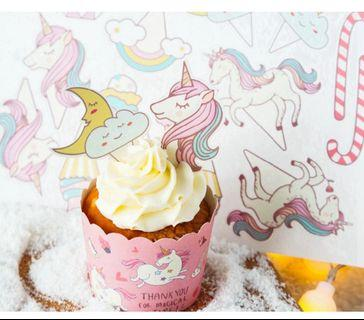 🚚 unicorn cupcake toppers