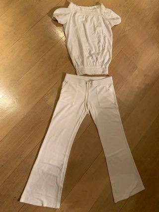 White terry cloth off shoulder top & pants