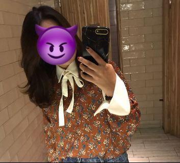 🚚 綁帶碎花襯衫 正韓 korea
