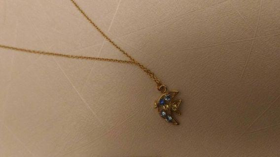 🚚 [降價]Lotin藍色鑲鑽小魚項鍊 #半價衣服拍賣會