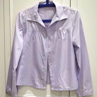 🚚 VeeKo淡紫色襯衫 V領設計