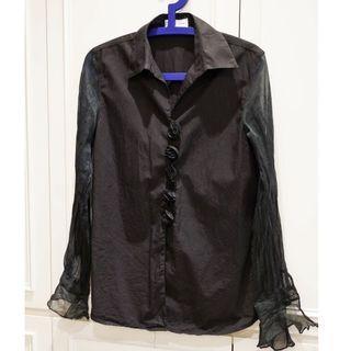 🚚 Anne Fontaine 黑色玫瑰雙袖透紗襯衫 上衣 法國名設計師 安妮·方亭 充滿濃濃法國浪漫風情