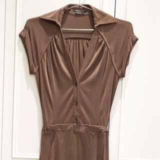 BCBG  MAXAZRIA 深咖啡舒適棉洋裝 修身剪裁顯瘦 美國紐約OUTLET購得