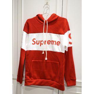 🚚 韓國帶回 Supreme紅色帽T恤 紅白條紋 厚棉超溫暖 Free size